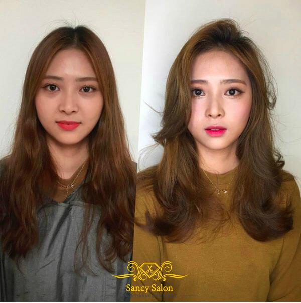 Chỉ cần thay đổi kiểu tóc uốn xoăn vểnh một chút đã khiến cô nàng tôn lên được nhưng nét đẹp trên khuôn mặt
